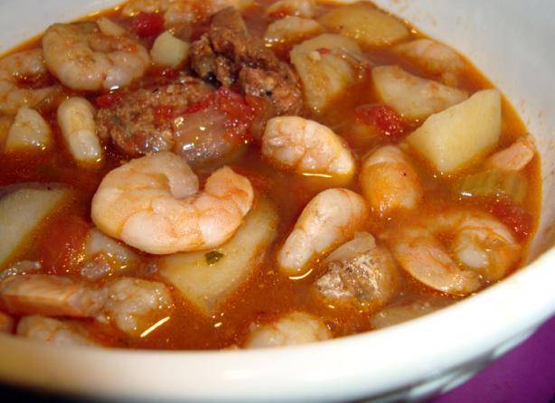 Portuguese Shrimp and Sausage Soup