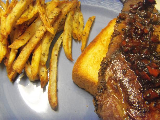 French Bistro Steak on Garlic Croutes and Potato Frites