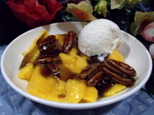 Mangoes Foster With Creme Fraiche (By Bobby Flay)