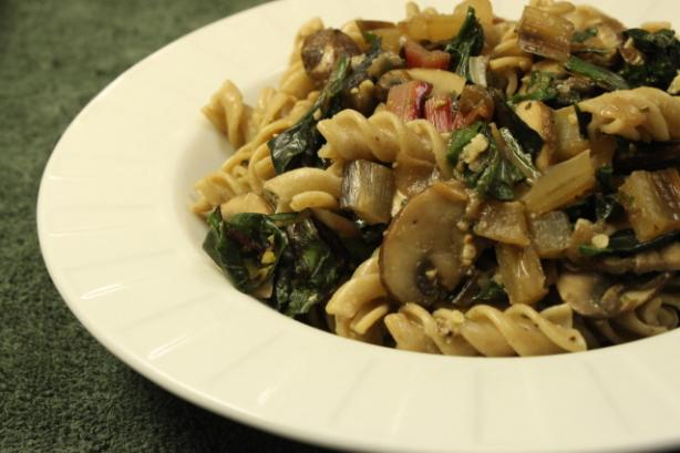 Fusilli With Mushrooms and Chard