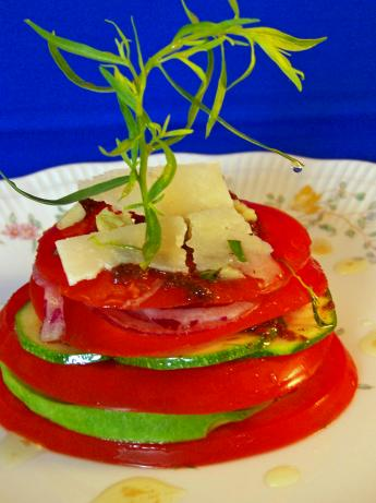 Stacked Tomatoes With Tarragon Infused Oil