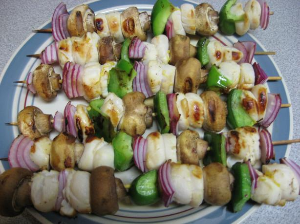 Garlic Scallop Kebabs