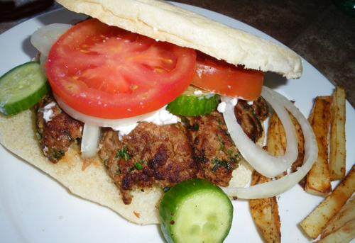 Mediterranean Lamb Burger With Greek Garnishes
