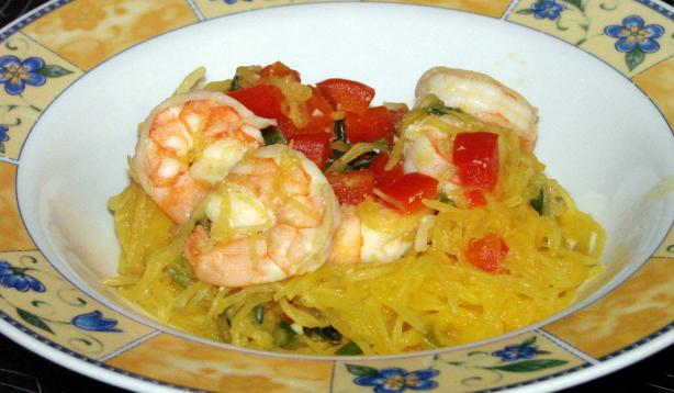 Spaghetti Squash Sauteed With Shrimp
