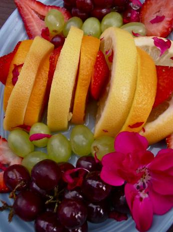 Fresh Fruit Salad With Rose Petals