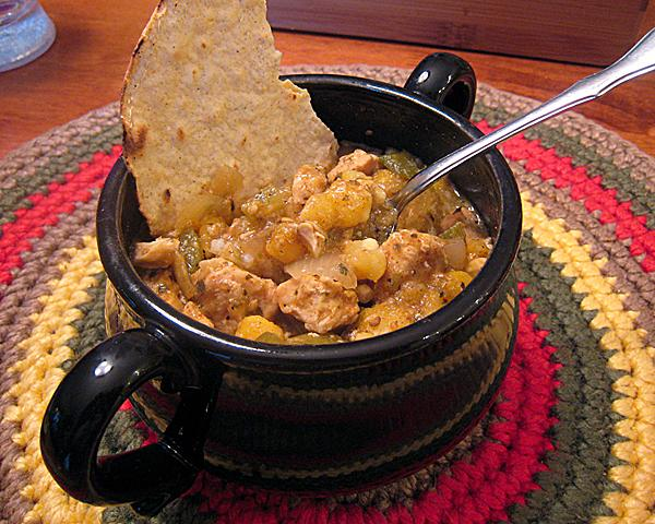 Crock Pot Chicken and Hominy Stew