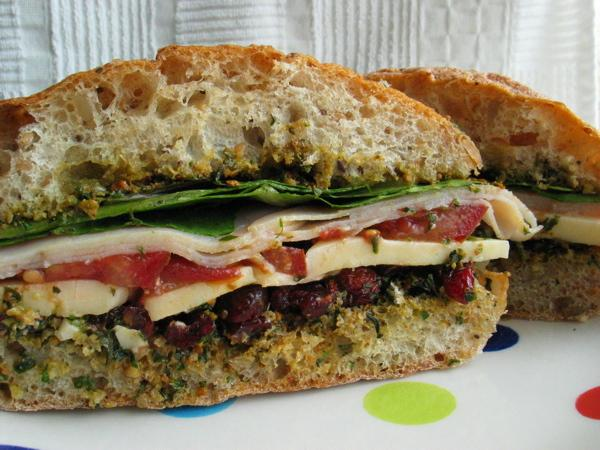 Turkey, Cranberry, and Pesto Sandwich