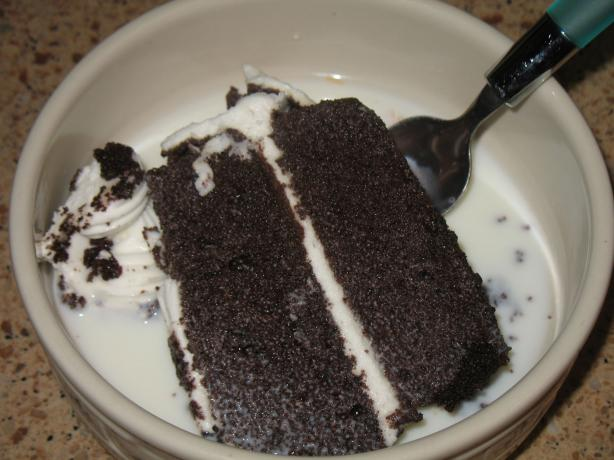 Store Bought Chocolate Cake and Milk