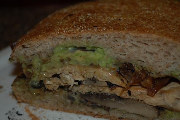 Mushroom and Chicken Paninis With Avocado Mayo