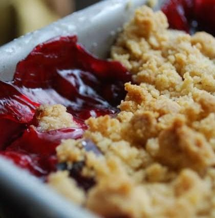 Our Gareth's Cherry and Coconut Crumble