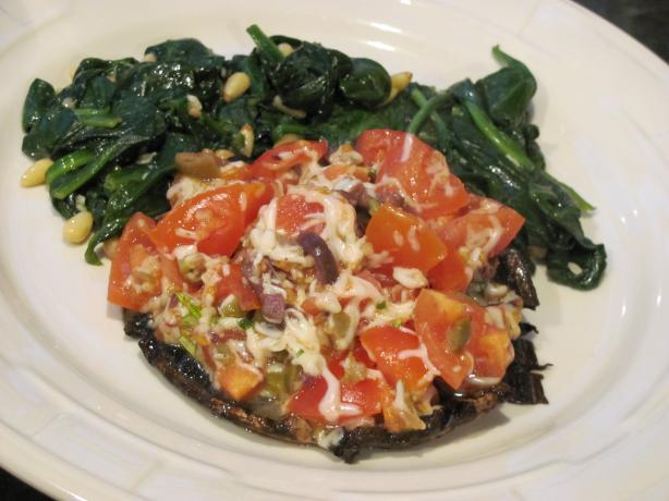 Tomato and Olive Stuffed Portobello Caps