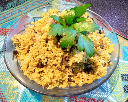 Mushroom Couscous With Moroccan Flavors