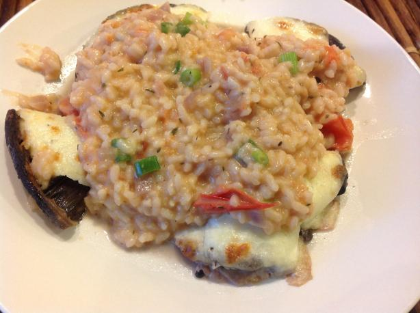 Grilled Tomato Risotto With Roasted Portobello Mushrooms