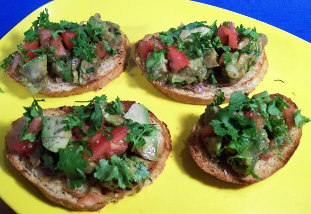 Mexican Guacamole Bruschettas