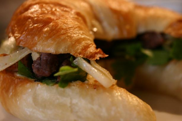 Steak and Fennel Croissant Sandwiches