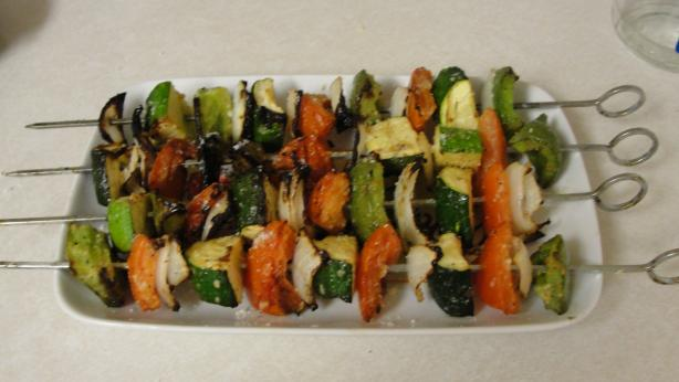 Garlic Parmesan Grilled Veggie Skewers