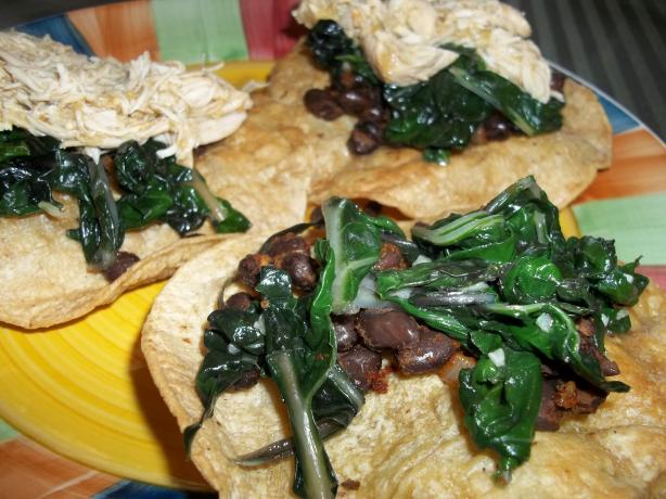 Black Bean Tostadas With Garlicky Greens