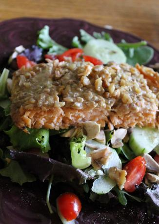 Honey and Walnut Crusted Salmon
