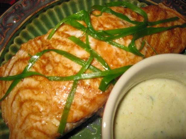 Baked Salmon With Green Onion Garnish