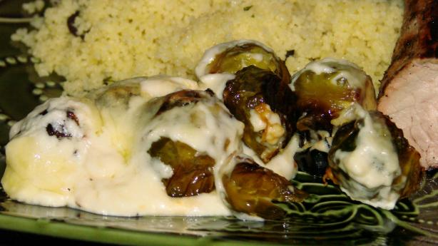 English Roasted Brussels Sprouts in Cheese Sauce