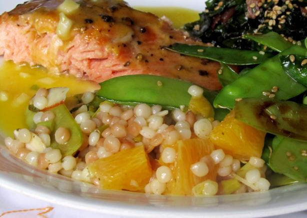 Orange Israeli Couscous With Snow Peas