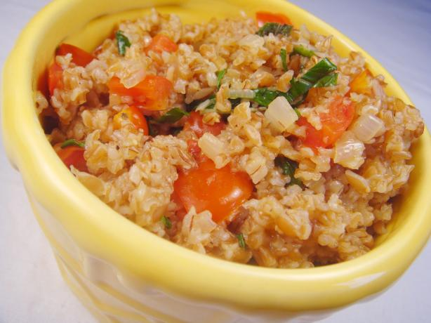 Bulgur Pilaf With Tomatoes, Shallots and Mint.
