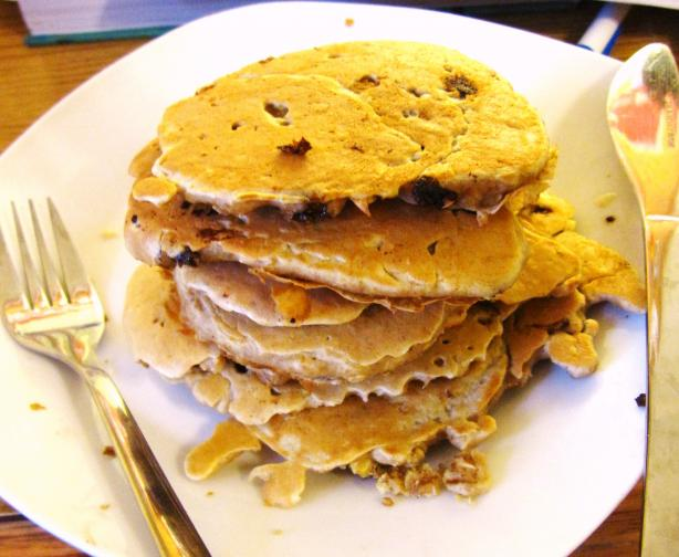 Light Chocolate Chip Oatmeal Pancakes for Two