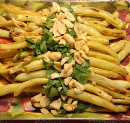 Roasted Yellow Beans With Peanuts and Cilantro