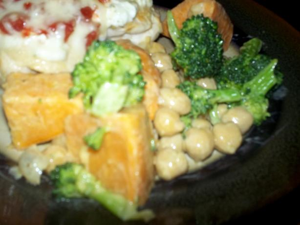 Steamed Sweet Potato, Broccoli, and Bean Salad
