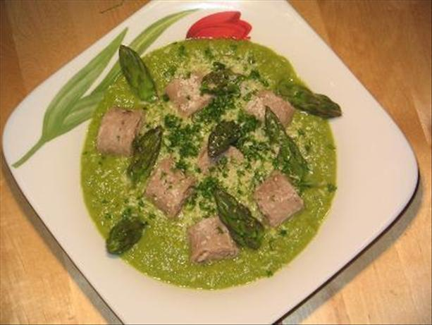 Veal Sausage with Asparagus Sauce and Asparagus Tips