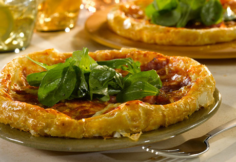Stuffed-Crust Sopressata Pizza with Lemony Arugula Salad