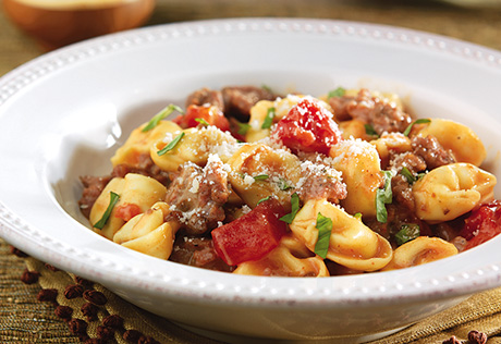 Turkey Sausage & Tortellini in Creamy Tomato Basil Sauce