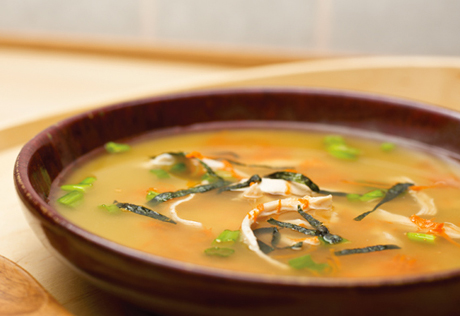 Ginger Miso Soup with Shredded Chicken & Green Onions