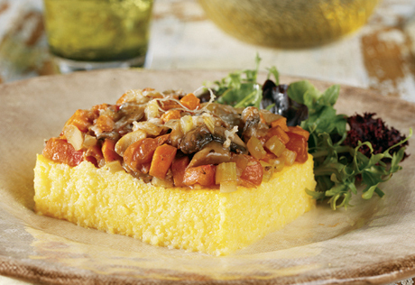 Polenta with Mushroom Vegetable Topping