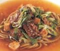 Stir-Fried Beef with Buckwheat Noodles, Tofu, and Dashi Broth