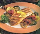Grilled Salmon with Tomato Cream and Arugula