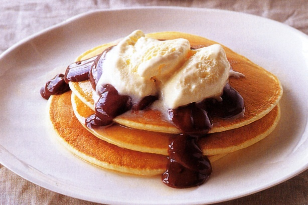 Pancakes with chocolate sauce & frangelico ice-cream
