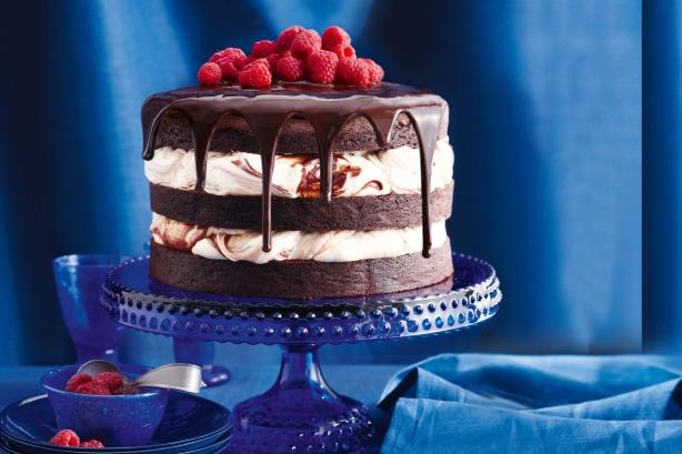 Triple layer chocolate cake with chocolate swirl cream