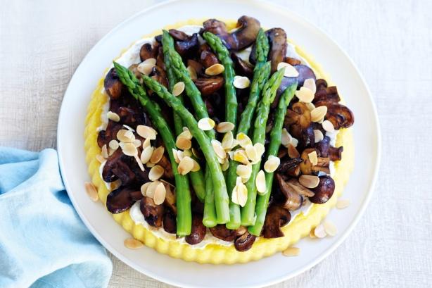 Asparagus & mushroom polenta tart