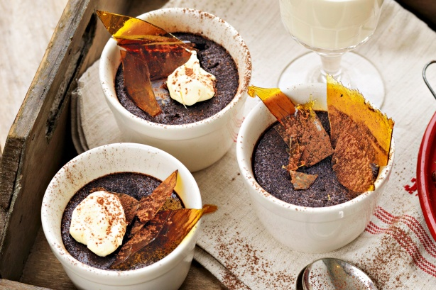 Bittersweet chocolate pots with toffee shards