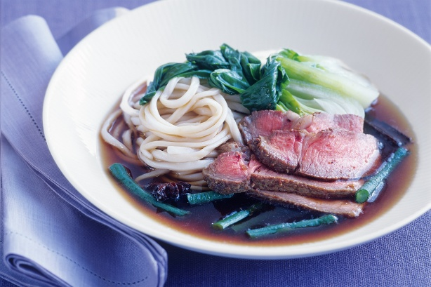 Beef with bok choy and snake beans