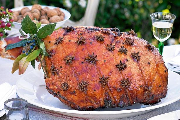 Plum & star anise glazed ham
