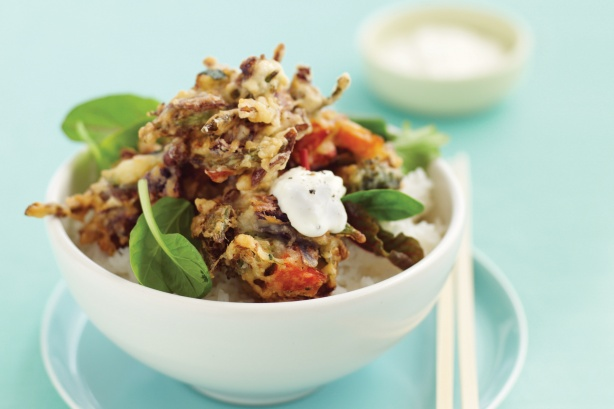 Vegetable fritters with garlic yoghurt