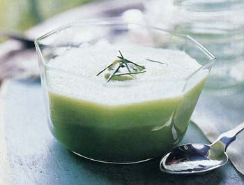 Cucumber Soup with Wasabi-Avocado Cream