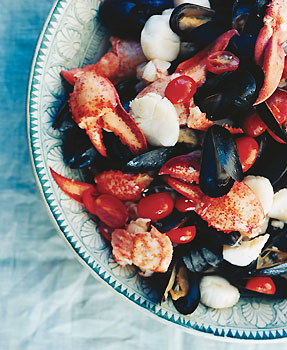 Lobster, Scallops, and Mussels with Tomato Garlic Vinaigrette