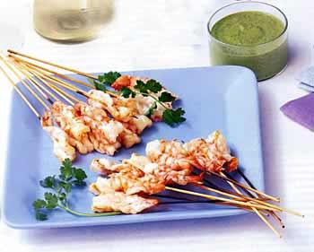 Shrimp Sates with Spiced Pistachio Chutney