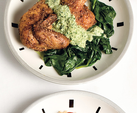 Spice-Roasted Cornish Hens with Cucumber-Yogurt Sauce