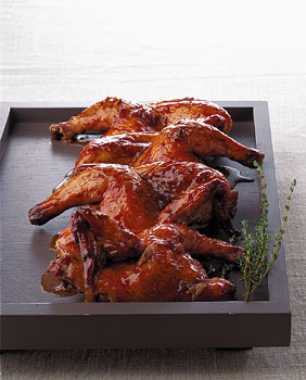 Cornish Hens with Sweet Vermouth Garlic Glaze
