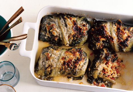 Mediterranean Rice-Stuffed Escarole