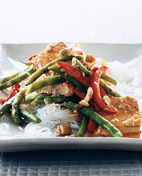 Seared Tofu with with Green Beans and Asian Coconut Sauce